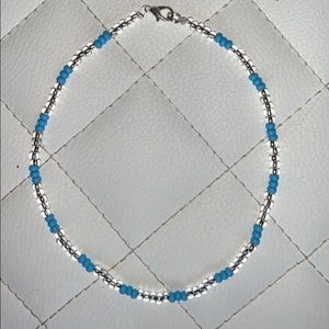 Clear and Baby Blue Beaded Choker